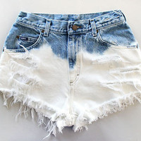 HIGH WAISTED half BLEACHED shorts (Custom Ordered)