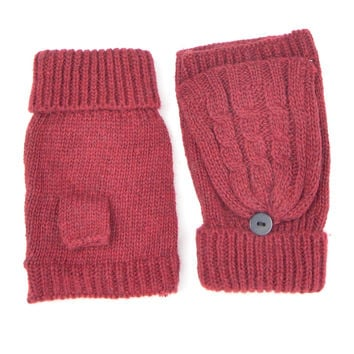 Maroon Fingerless Knit Gloves with Front Flap