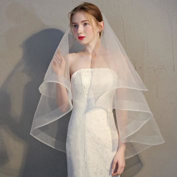 Two Layers Ribbon Edge Bridal Veil With Comb