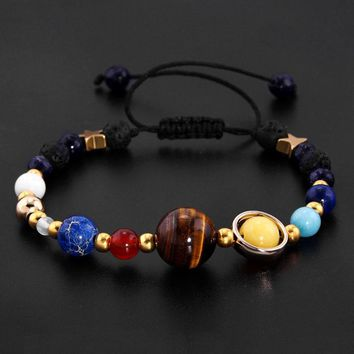 Universe Galaxy the Eight Planets in the Solar System Guardian Star Natural Stone Beads Bracelet