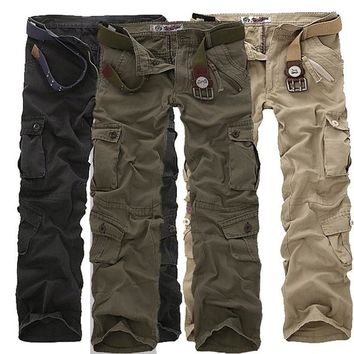 Men's Cargo Pants High Quality Casual Mens Pant Multi Pockets Military Overall Men Outdoors Long Trousers Plus Size 30-46