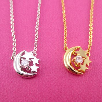 Crescent Moon and Tiny Stars Shaped Pendant Necklace in Gold or Silver