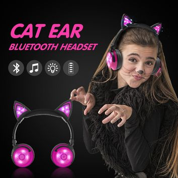 Fashion Gifts Cute Foldable Wireless Cat Ear Earphones With Glowing Lights Cosplay Style