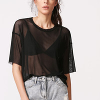 Black Drop Shoulder Sheer Mesh Top | MakeMeChic.COM