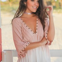 Pink and Ivory Top with 3/4 Sleeves