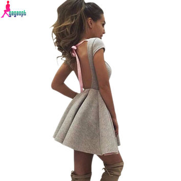 Gagaopt Summer Sexy Party Dresses Princess Open Back Bow Backless Dresses O-neck Dresses Autumn Bandage Dress Vestidos Robes