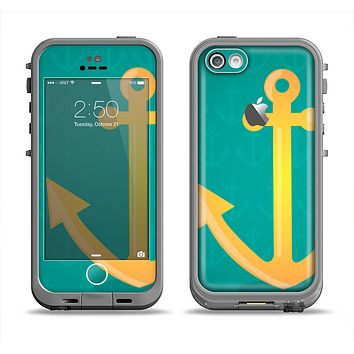 The Gold Stretched Anchor with Green Background Apple iPhone 5c LifeProof Fre Case Skin Set