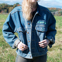 "Vintage ""Code Bleu"" Denim Jacket with Corduroy Collar - S"