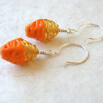 Glass Earrings - Tangerine and Citrine Earrings - vintage spiderweb glass bead earrings - Autumn Fashion