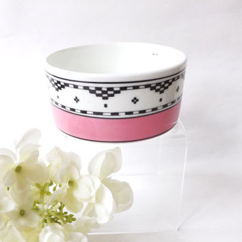Edwardian Pink Pot George Jones Crescent China, Ring Dish, Jewelry Dish Antique Pink Interior, Dresser Dish, Black & White Geometric Ceramic