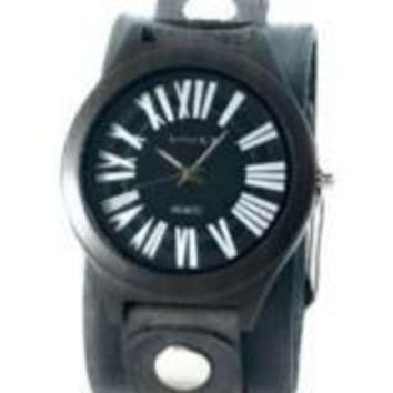 Dark Wood watch with Vintage leather cuff band