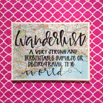 Canvas quote Wanderlust definition on map background 9x12 hand painted