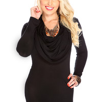 Casual Cute Black Draped Neckline Long Sleeves Dress