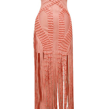 Briella Coral Beaded Bandage Long Fringe Dress