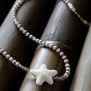 long necklace , handmade , with a white volcano star fish , summer jewelry , women's charm necklases , gifts , necklace,necklaces