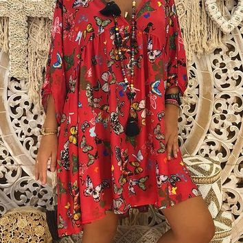 New Red Animal Print 3/4 Sleeve V-neck Bohemian Sweet Going out Mini Dress
