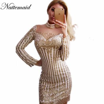 NATTEMAID Sexy Club dress long sleeve Gold sequins Dresses Slim Transparent Mesh Bodycon Turtle-neck Nighclub Mini Vestidos
