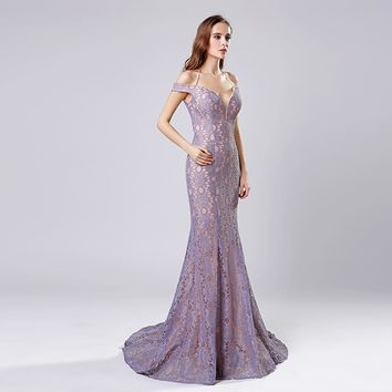 New Arrivals Mermaid Dubai Long Evening Dresses Lilac/Black/Red Whole Halter Whole Lace Prom Dresses LSX575