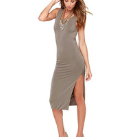 Grey Sleeveless Bodycon Dress with Twisted V-Back Cut-Out