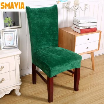SMAVIA New Arrival Thick velvet Dining Chair Cover Spandex Fabric for Hotel Banquet Wedding anti-dirty Chair Covers 2pcs/1 lot