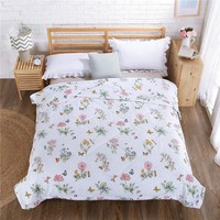 2017 High Quality pink blue cartoon Summer Quilts Printed Blankets Washable Breathable Thin Comforters Twin full Queen king Size