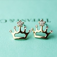 Crown Shape Rhinestone Earings