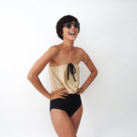 Disco style one piece swimsuit Gold and Black by ANNAKSHOP on Etsy