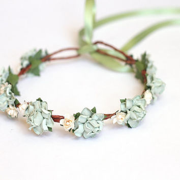 mint and ivory rose flower hair crown / woodland, nature inspired, wedding bridal wreath, festival headband, romantic, dainty.