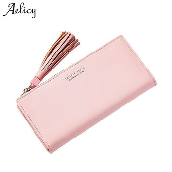 Aelicy luxury new design long ladies clutch female fashion bags tassel pu leather womens wallets and purses brand famous