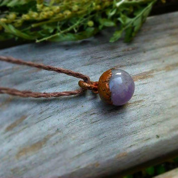 Copper Electroformed Amethyst Necklace | Organic Hemp | Boho Layering Necklace | Rustic Copper Necklace