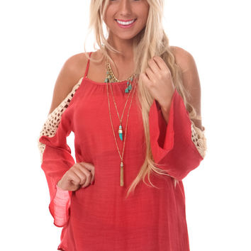 Vermilion Open Shoulder Top with Crochet Detail