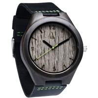 Ebony Watch // Silver Grey Oak Green