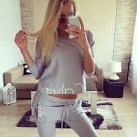 Fashion CK Casual Women Ladies Cotton Long Sleeve Hoodies Sweatshirts Pants 2Pc Sets Black Gray Pullover Clothes Suits