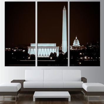 Washington DC Skyline wall art Canvas Print, extra large wall art print, canvas gallery art, Washington skyline canvas  print art t160