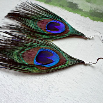 Colorful Peacock Feather Long Earrings by EudaimoniaJewelry