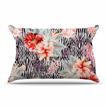 "Nika Martinez ""Tropical Fusion"" Red Floral Pillow Sham"