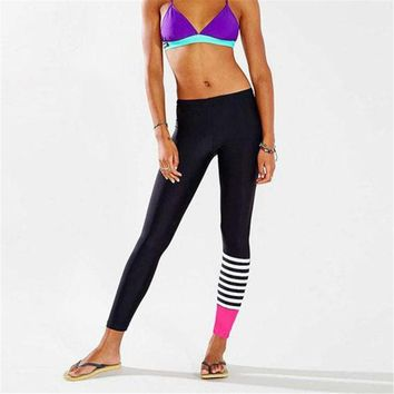 Women Foot pieces stitching Pants Dance Cropped Leggings High Waist Stretch Outdoor Sport Mountain Bike Cycling Trousers