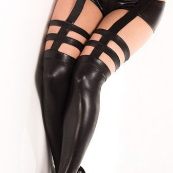Plus Size Wet Look Stockings