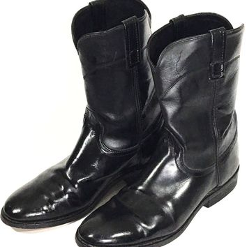 Laredo Boots Roper Black Cowboy Western Leather 28-7902 Pull On Shoes Mens 10 D - Preowned