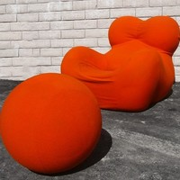 ORIGINAL 1970's GAETANO PESCE UP 5 DONNA CHAIR UP 6 OTTOMANS - EXTREMELY RARE