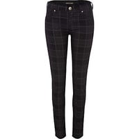 black check olive super skinny jeans