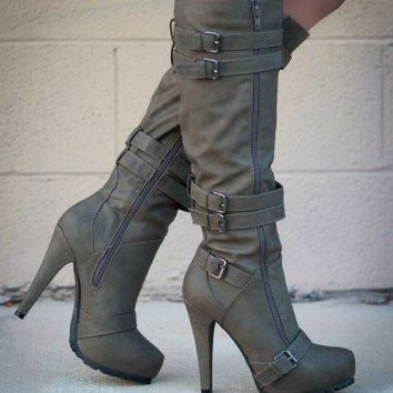 Bumper Oak-12X Buckle Knee High Boot (Taupe) - Shoes 4 U Las Vegas