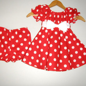 Minnie Mouse  Red   polka dot dress with matching panty  (available in sizes 1t to 4t)