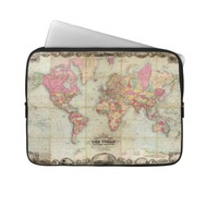 Antique World Map by John Colton, circa 1854 Laptop Sleeves from Zazzle.com