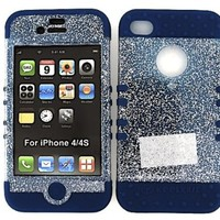 3 IN 1 HYBRID SILICONE COVER FOR APPLE IPHONE 4 4S HARD CASE SOFT DARK BLUE RUBBER SKIN GLITTER CLEAR DB-A042-H KOOL KASE ROCKER CELL PHONE ACCESSORY EXCLUSIVE BY MANDMWIRELESS
