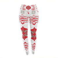 "Miranda Mol ""Snowjoy White"" Red Yoga Leggings"