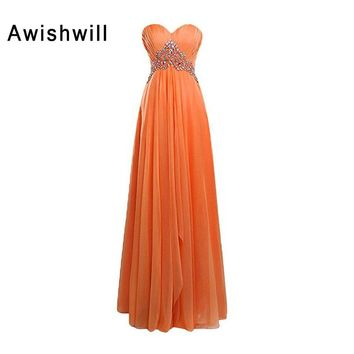 Real Photo Sweetheart Neckline Empire Waist Beaded Chiffon Long Prom Dress Pregnant Women Evening Gowns New Vestidos de Gala