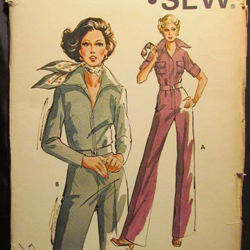 SALE Uncut 1970's Kwik Sew Sewing Pattern, 667! 6-8-10 Women's/Misses/Teens/Jr's One Piece Jumpsuit/Firm Knit Woven Fabric/Collared Jumpsuit