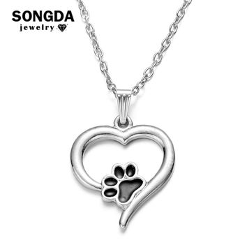 SONGDA Cute Pet Memorial Necklace Hollow Puppy Cat Paw Love Heart Shape Alloy Pendant Necklace for Pet Lovers Men Women Jewelry