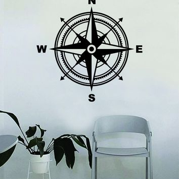 Compass Rose v4 Wall Decal Quote Home Room Decor Decoration Art Vinyl Sticker Inspirational Motivational Adventure Teen Travel Wanderlust Explore